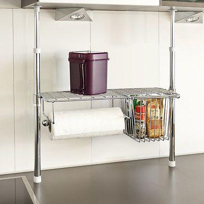bremermann® Küchen-Teleskopregal inkl. Rollenhalter & ausziehbarem Korb, 6418