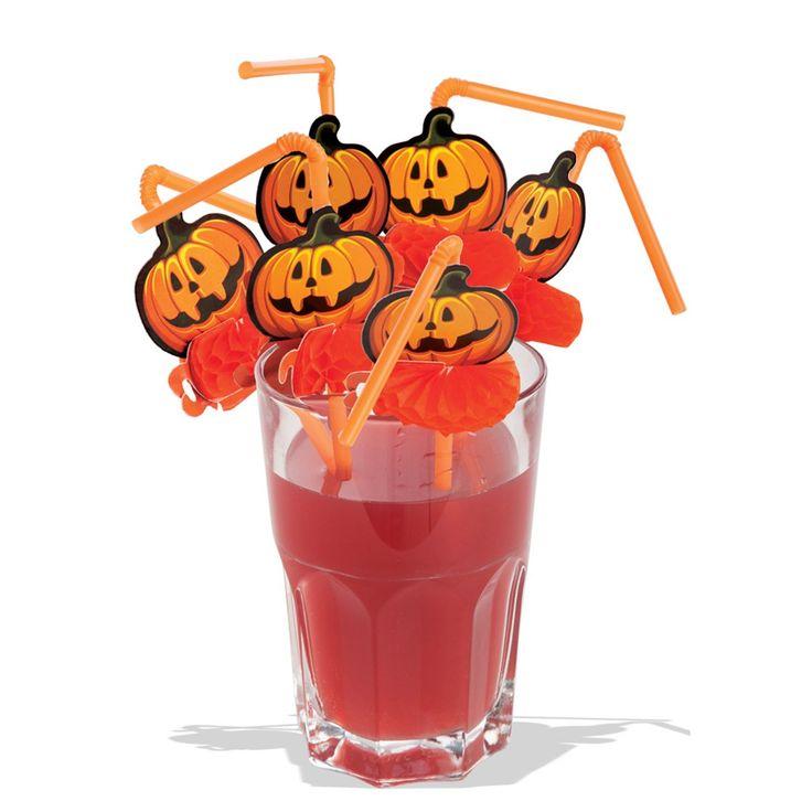 6 cannucce halloween in busta c/cav.