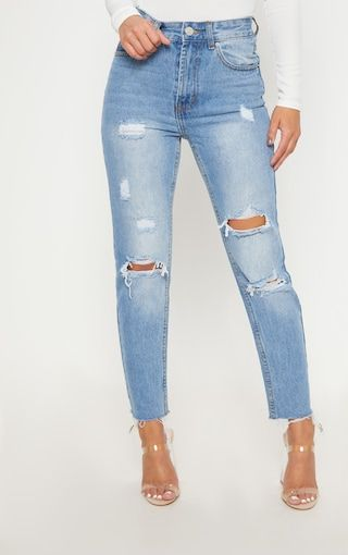84ed8f56580874 Petite Light Wash Distressed Mom Jeans in 2019 | [70S & 80S ] S T Y L E |  Jeans, Mom jeans, Trouser jeans