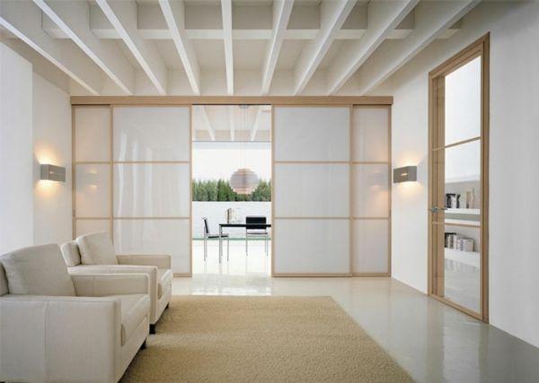 cloison de séparation coulissante en vitrage blanc http://designmag.fr/design-dinterieur/cloison-de-separation-decorative-sublimer-lespace.html