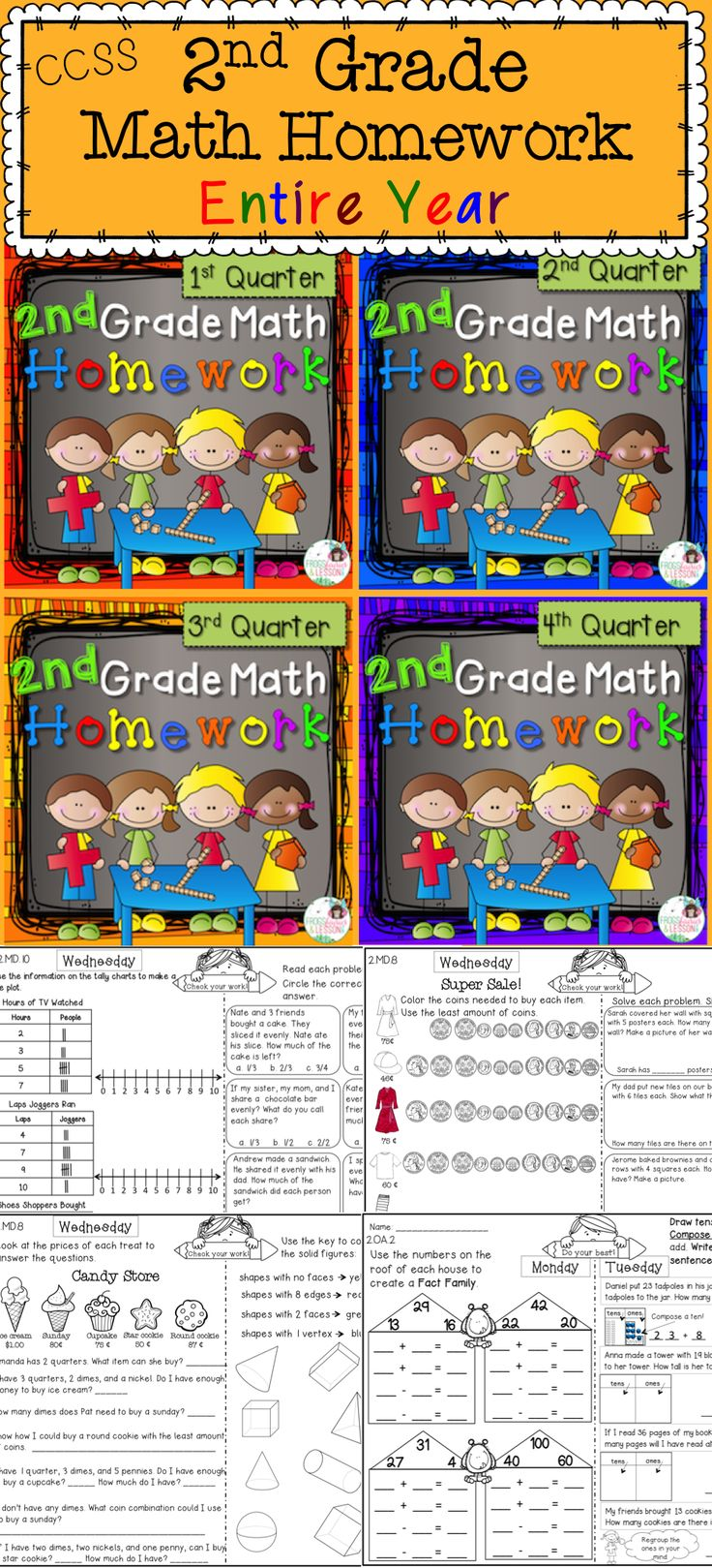 Math homework for the entire year! This resource is a one-page-per-week, one-CCSS domain-per-day, all year homework! Easy for students and parents to understand. Child friendly, but packed with work.