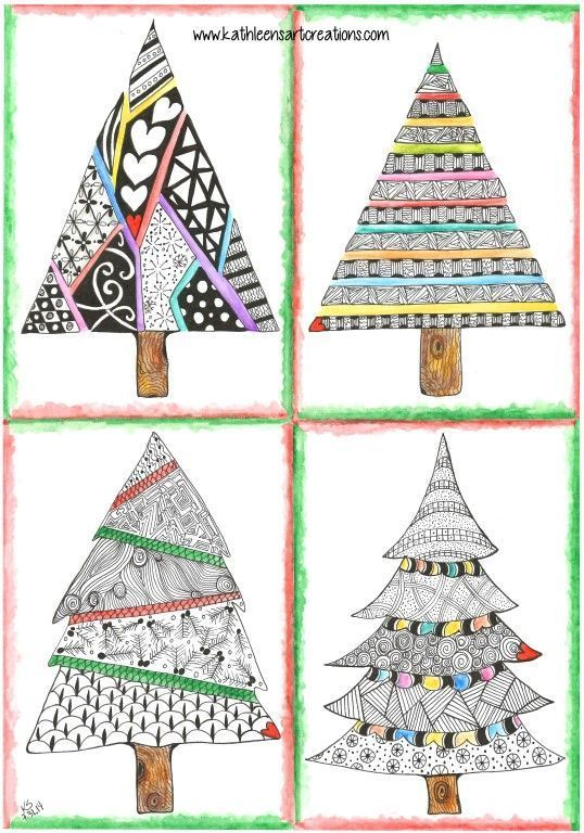 """Whimsical Zentangle® Inspired """"Four Christmas Trees"""" finished 7-31-14. A 12-pack of note cards are available for $23.00 with FREE shipping and handling. Prints also available plus much more."""