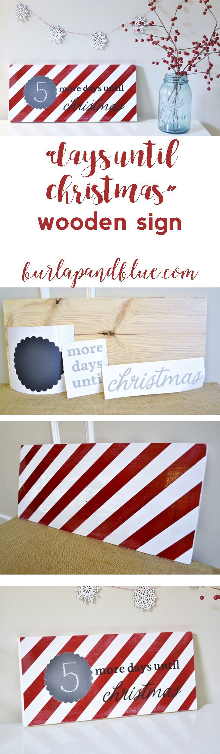 """days until christmas"" striped wooden sign...using vinyl!"