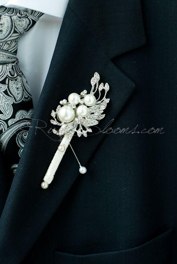 Crystal Pearl Art Deco Wedding Boutonniere
