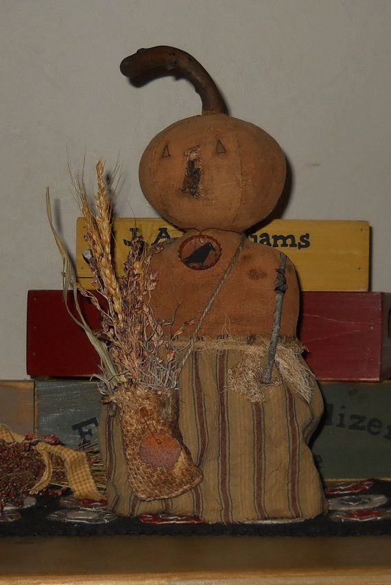 Primitive Pumpkin stump doll by RustyThimble on Etsy, $27.59