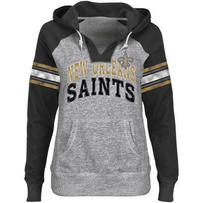 New Orleans Saints Ladies Huddle III Pullover Hoodie - Steel/Black