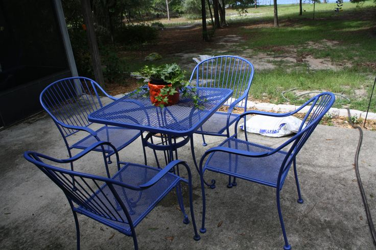 I am in my blue period, painting all of the patio furniture blue.