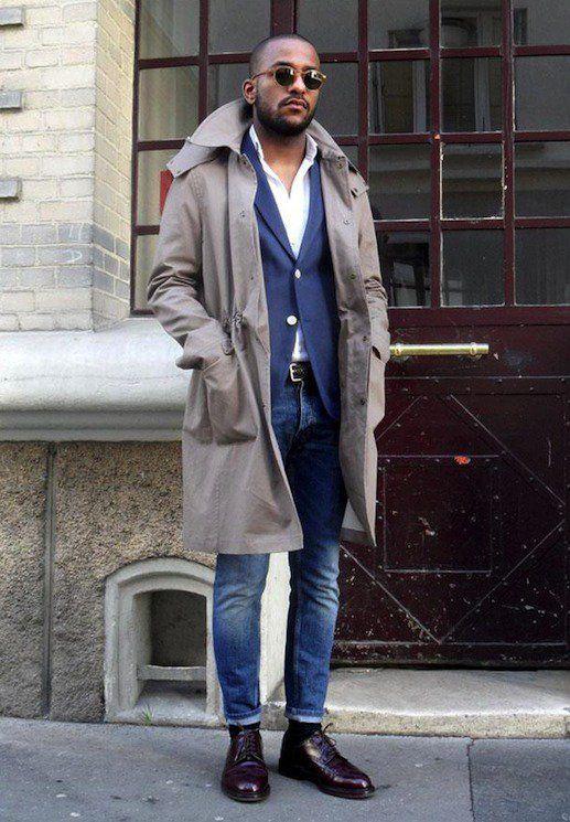 ジーンズ,ネイビージャケット,トレンチコート,メンズファッション着こなし