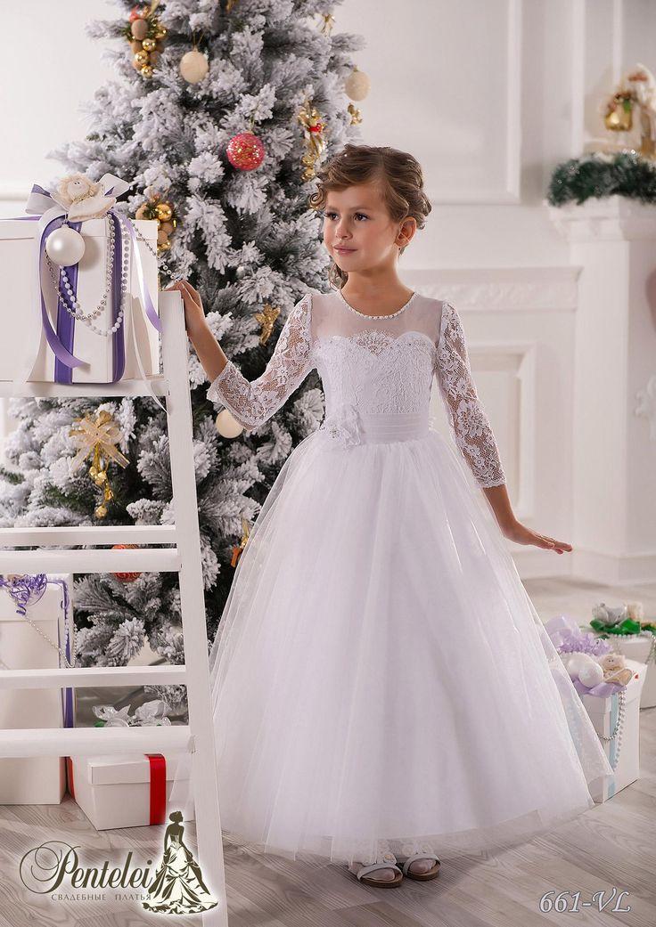 Great Flower Girl Dresses For Beach Wedding Jewel Sleeves Beaded Lace Net Baby Girl