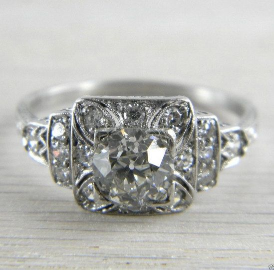 Platinum 1920s Art Deco Filigree * GIA Certified * 1.11 tcw Diamond Ring AN-D88 on Etsy, $4,999.99
