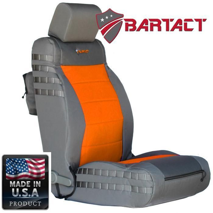 Jeep JK Seat Covers Front 07-10 Wrangler JK/JKU Tactical Series Not Air Bag Compliant Graphite/Orange Bartact