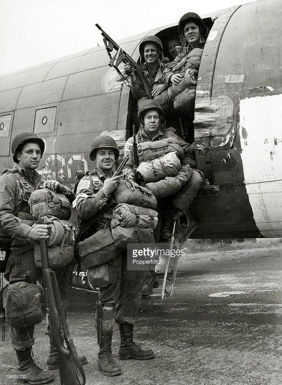 September 1944, Allied paratroopers are all smiles before they board the plane to take part in the airborne assault on the Germans at Arnhem, Holland