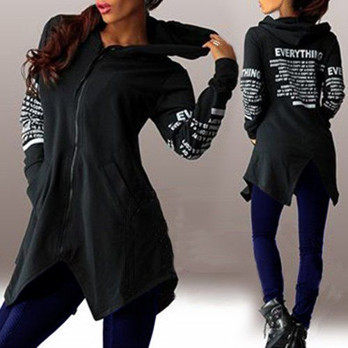 Chic Hooded Long Sleeve Letter Print Asymmetrical Hoodie For Women
