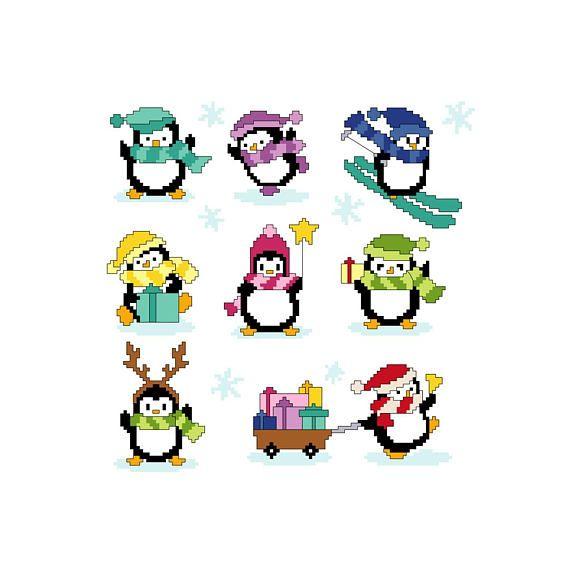 PDF schema punto croce pinguini  cross stitch pattern