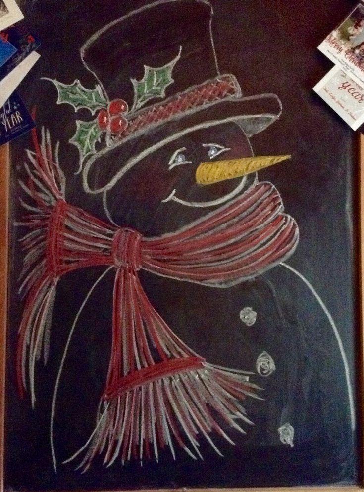 Chalkboard snowman, 2016