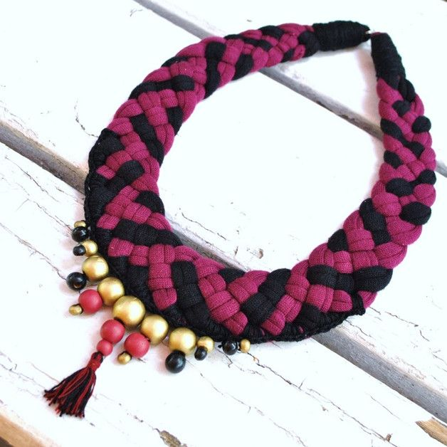 maroon boho necklace XXl, hand made braided necklace