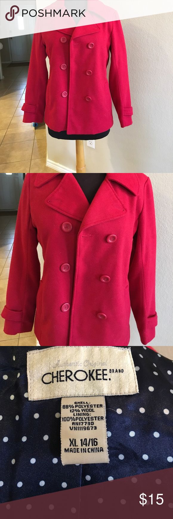 """Cherokee red pea coat!🎈 This coat has been worn but it 's still in great shape! There are no stains, rips or flaws. Lined in navy/white polka dot poly fabric. Best of all, it's machine washable! Fabric content & laundry instructions on pics. 19"""" across chest, 26.5"""" length. Coat runs small, I listed as a L. PLEASE USE MEASUREMENTS!😊 Cherokee Jackets & Coats Pea Coats"""