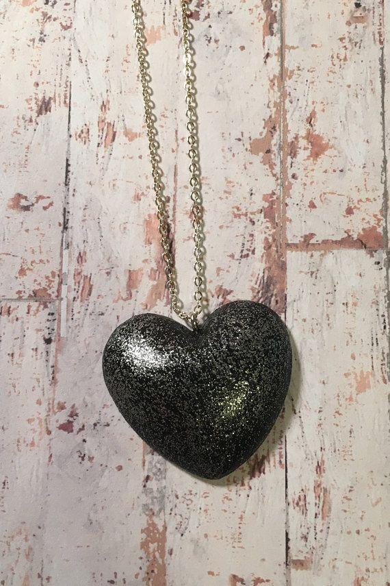 Black Glitter Heart Necklace  heart pendant heart jewellery