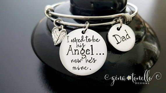 Memorial Bracelet, I Used to be His Angel Now Hes Mine, In Memory Of, Remembrance Jewelry, Loss of Father, Daughter Daddy Angel by…