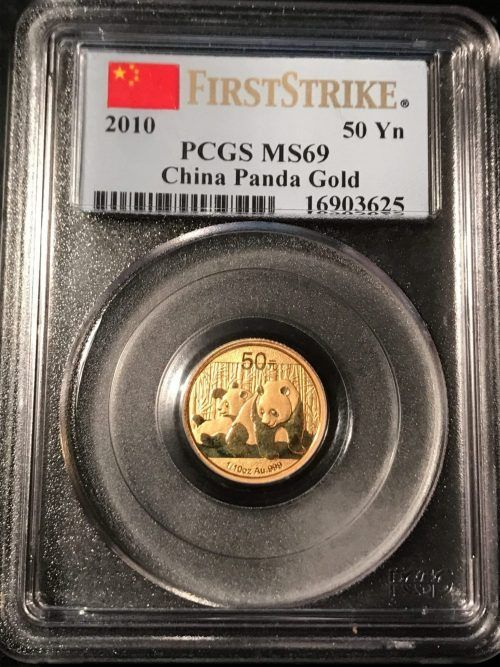 Visit this post everyday and be the first to know what just walked in the door at Kenmore Collectibles.   2010 Chinese Panda 1/10 Ounce Gold. PCGS MS69. First Strike  Not the toughest Panda to find in MS69 condition but certainly not the easiest.  Population Report for PCGS 1/10 Gold Panda MS69   2003: 60  2010: 170  2013: 6503  Selling for 10% over the Gold Spot Price.   #ChineseGoldPanda #KenmoreCollectibles #Today'sFind