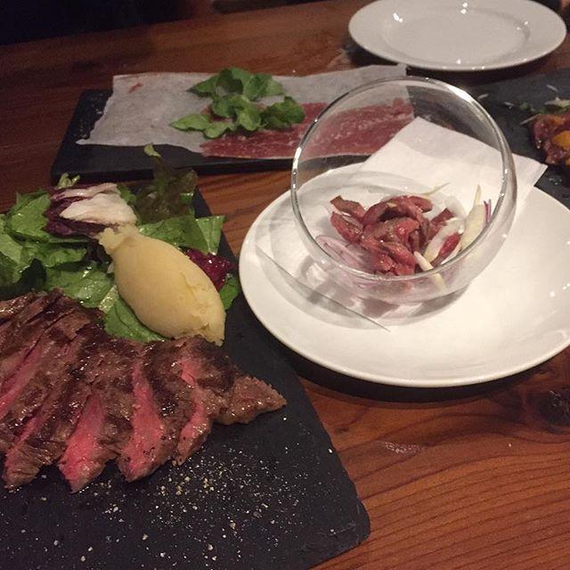 昨日の肉◎ #肉#サーロイン#トリュフ塩ユッケ#うに牛刺し#美味い#sirloin#meat#delicious#幡ヶ谷