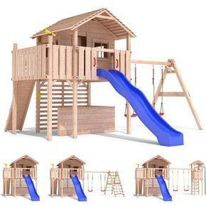 Spectacular MAXIMO Spielturm Baumhaus Stelzenhaus Schaukel Kletterturm Rutsche Holz