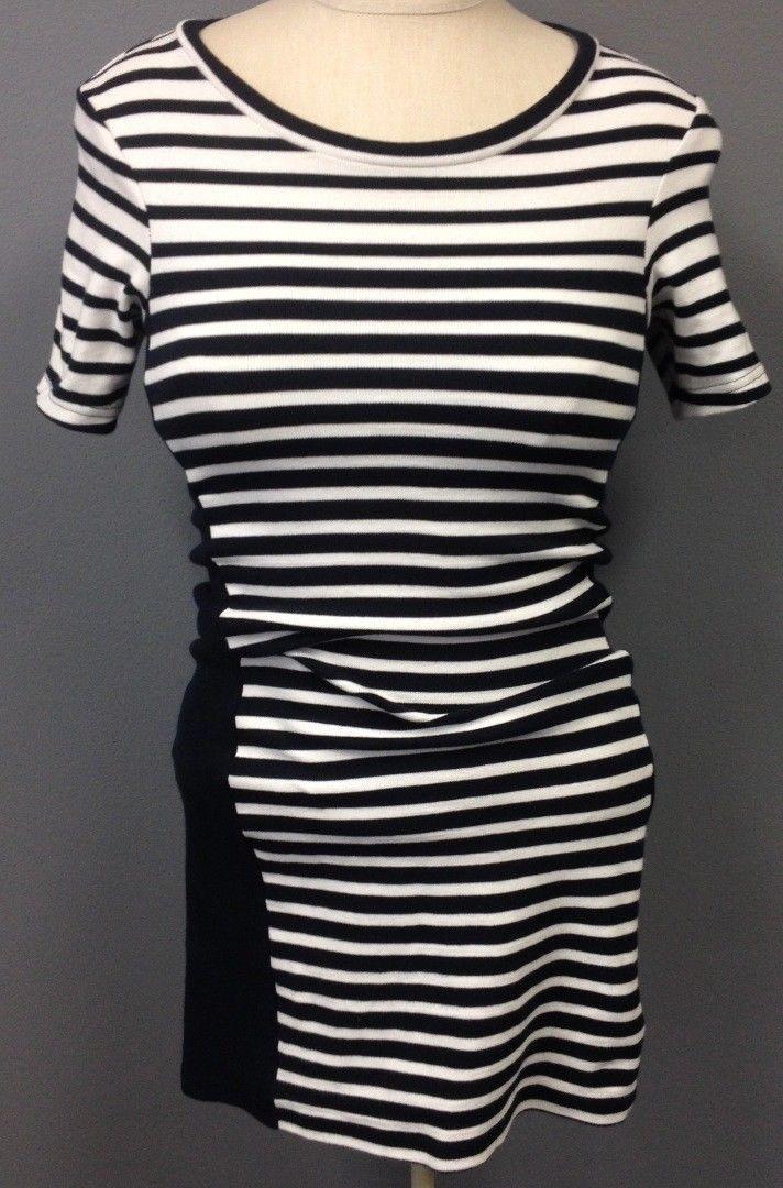 b26f371416c8 22.49 ❤ TOPSHOP Navy Blue White Striped Stretchy Short Sleeve Bodycon Dress  Sz 4 EE8577
