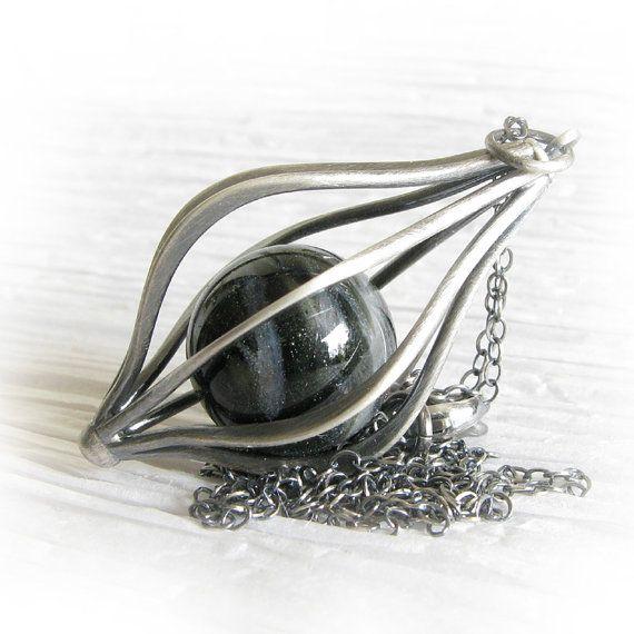 Cremation glass memorial marble Envelop necklace. Pet ashes.