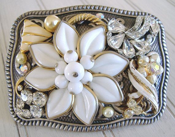Recycled vintage jewelry creates a pretty & unique belt buckle
