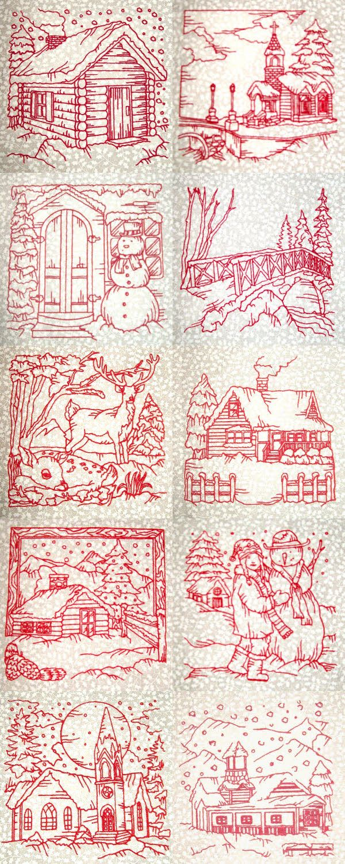 Winter Village Scenes Embroidery Machine Design Details