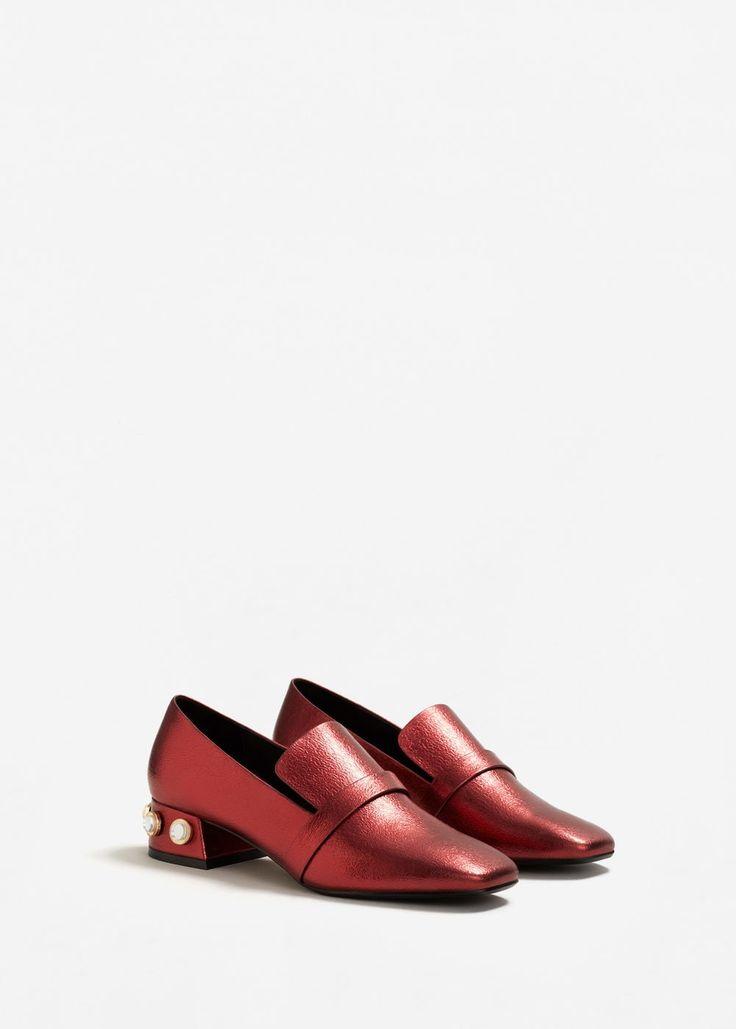Mocasines rojos Mujeres punta estrecha Slip arco en los zapatos Chunky Tacón Backless Shoes ugDF6N