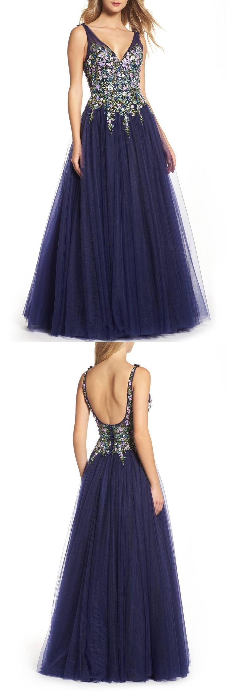 Indigo Embroidered Bodice Ballgown by Mac Duggal #dress  #formaldress #formalgown #eveninggown #fashion #womensfashion formal dress | formal dresses for teens |  Formal Dresses | formal dress |  Formal Dresses | Formal Dress Outfits