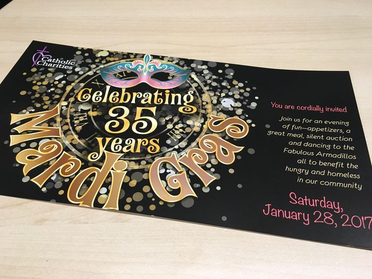 Mardi Gras Catholic Charities event invites printed by Rengel Printing.