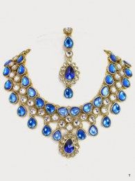 Elegant Gold Plated Necklace Set Embellished With White & Blue Colored Stones