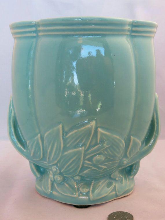 Soft green vintage McCoy panel vase c. 1947