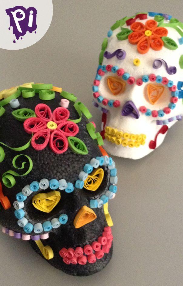 Calaveras para Halloween o Dia de Muertos decoradas con Filigrana, Quilling skulls Pintaideas.