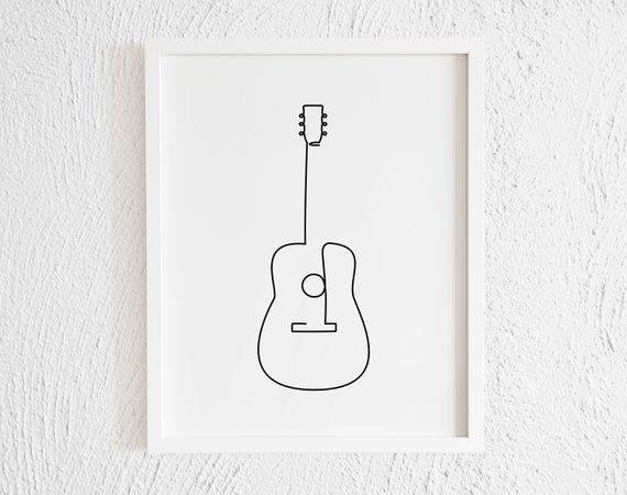 Guitar Drawing Print Printable Minimalist Guitar Doodle Wall Decor Modern Music Instrument Gallery Art Classical Folklore Salsa Merengue Doodle Wall Guitar Doodle Guitar Drawing