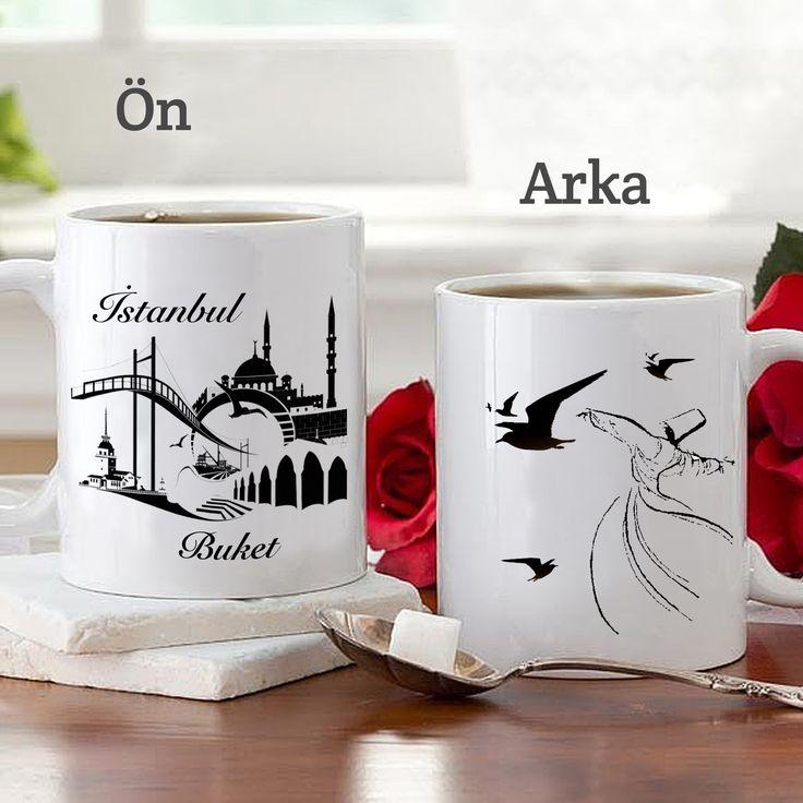 İstanbul Silüetli İsim Yazılı Kupa Bardak