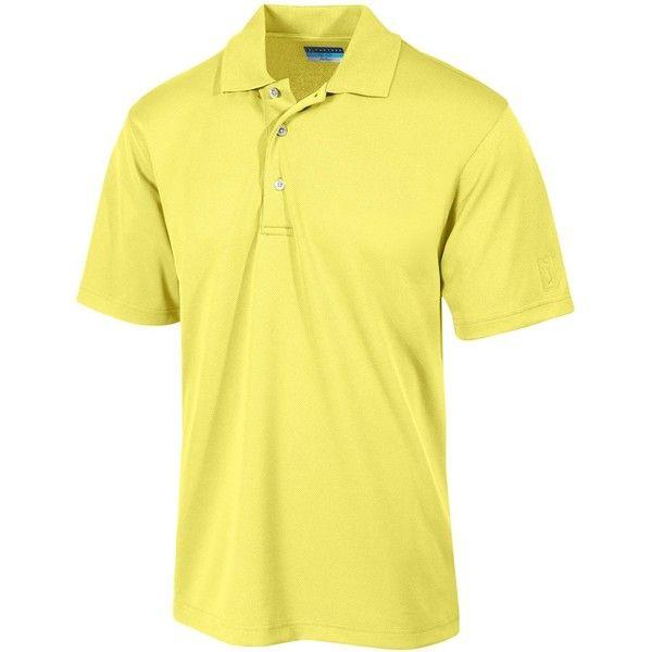 Pga Tour Men's Airflux Solid Golf Polo Shirt ($50) ❤ liked on Polyvore featuring men's fashion, men's clothing, men's shirts, men's polos, pale banana, mens golf polo shirts, mens golf shirts and mens polo shirts