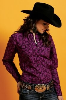 Western Shirts : Purple Print Shirt - Cruel Girl. Love the dark purple, awesome for fall!