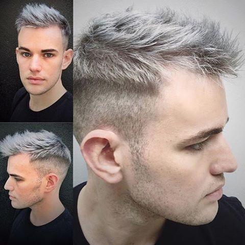 """""""What better #haircolor could be used on a #MaleModel than #BlueSteel ❄️!? Celebrity #stylist ✂️ @zoewiepert applied this #silver shade of #ManicPanic over blonde ☀️ #hair to make this hunk even more #handsome than before. Since this #dye was released a few months ago, it's quickly become one of our #bestsellers and is even now available in the #Amplified ⚡️ formula!"""