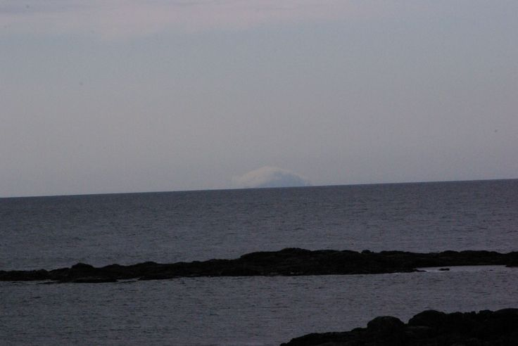 Looking across to Boreray, St Kilda covered by cloud