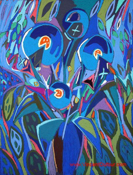 """Tableau """"Fleur d'artifice bleu 1"""" de Vincent Dufour (Pastel sec 50/65cm). Découvrez tous les tableaux """"Figuration libre"""" disponibles sur http://www.vincentdufour.com/fr/29-figuration-libre # art, pastel, peinture, tableau, bouquet, fleur"""