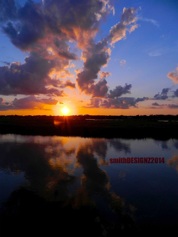 Sunset Photo, Photography, South Carolina Marsh, Garden City Sunset, Beach House Decor, Vinyl Wall Decal, by Abby Smith, (FREE SHIPPING) by smithDESIGNZ on Etsy