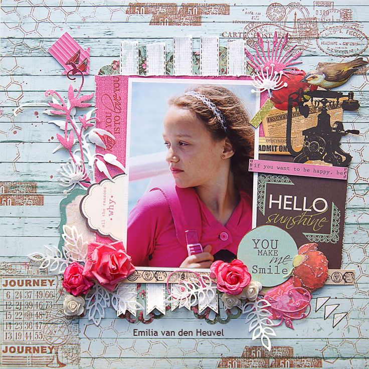 "Emilia van den Heuvel: Hello Sunshine {Merly Impressions & Kaisercraft met uitleg} KAISERCRAFT ""telegraph road"" collection"
