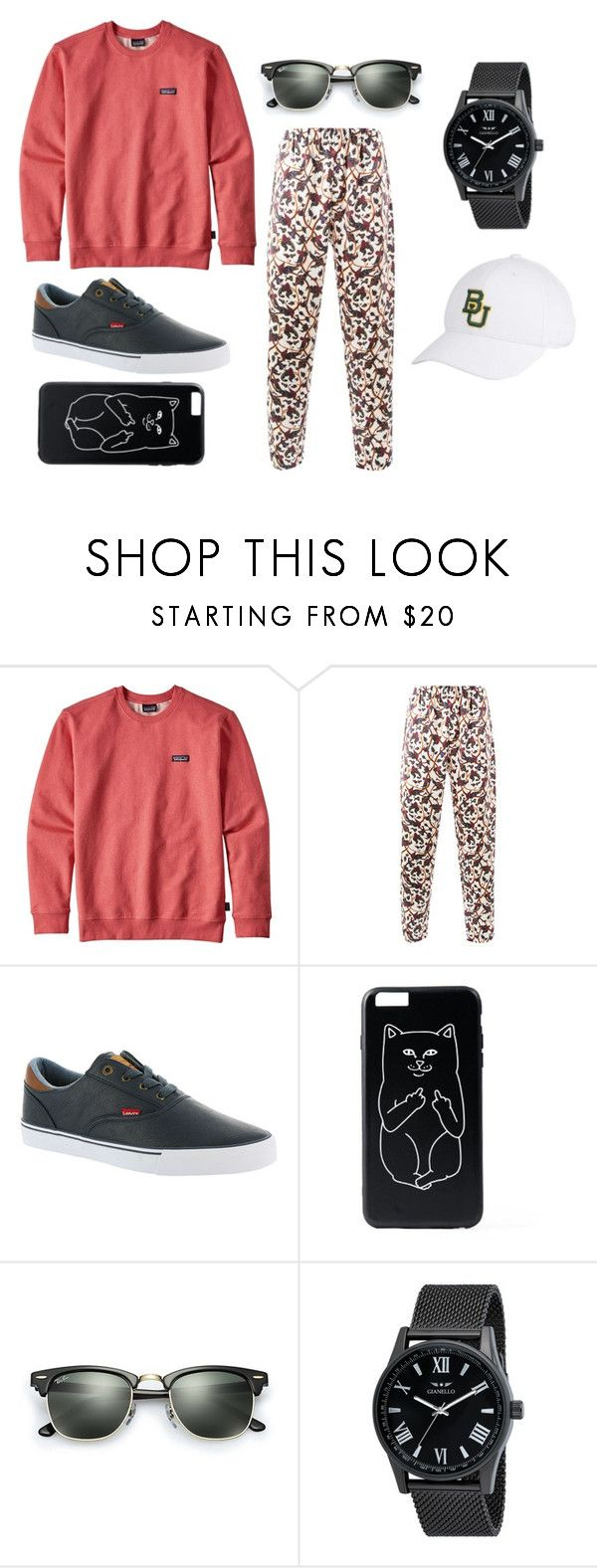 """""""Snek"""" by electronic-lions on Polyvore featuring Patagonia, Edward Crutchley, Levi's, Ray-Ban, Top of the World, men's fashion and menswear"""