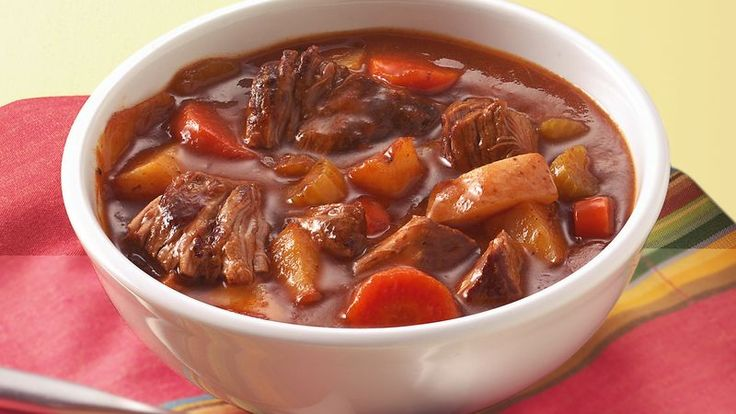 Caraway seeds and paprika lend an Eastern European flavor to a satisfying stew loaded with meat and veggies.