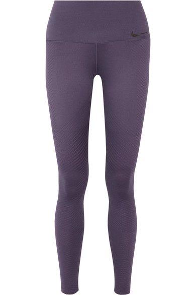 Nike - Zonal Strength Training Textured Dri-fit Stretch Leggings - Dark purple - x large