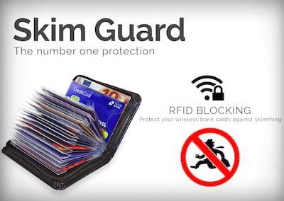 Skim Guard plånbok: skydda dina bank- och kreditkort mot trådlös skimning. Få 74% rabatt med Get Deals voucher.