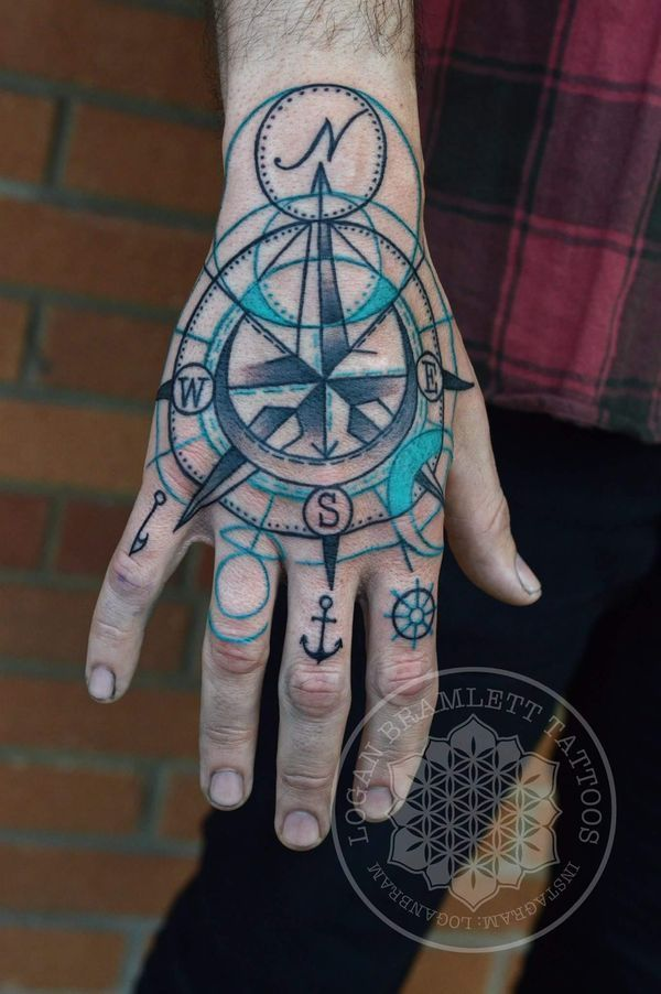 Exceptional Nautical Star Compass Hand Tattoo Elbow Tattoos